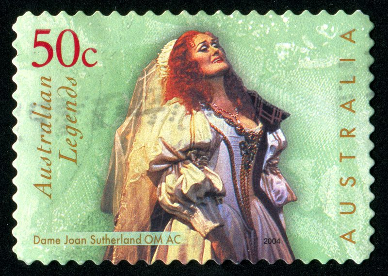 An Australian postage stamp featuring Dame Joan Sutherland.