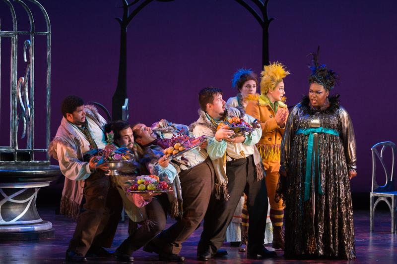 "R to L: Leah Hawkins as Lucia and Allegra De Vita as Pippo with the ensemble in The Glimmerglass Festival's production of Rossini's ""The Thieving Magpie."""