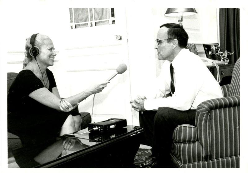 June LeBell interviewing Mayor Rudolph Giuliani for WQXR.