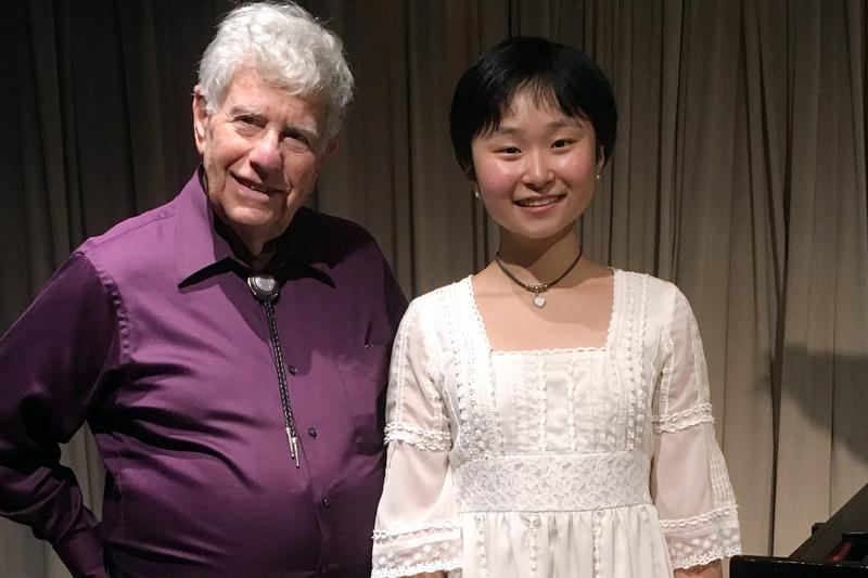 Pianist Lucia Li in the studio with Young Artists Showcase host Bob Sherman.