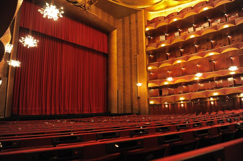 The auditorium of the Metropolitan Opera House in New York City.