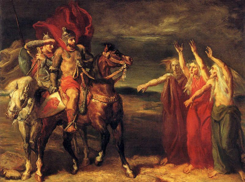 'Macbeth and Banquo Meeting the Witches on the Heath' by Théodore Chassériau.