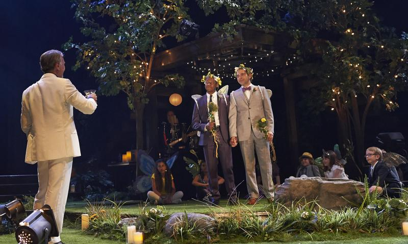 Thomas Olajide (centre, left) and Josue Laboucane as the wedding couple with members of the company in 'A Midsummer Night's Dream' directed by Chris Abraham at the Stratford Festival.
