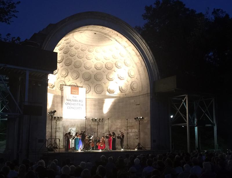 The East Coast Chamber Orchestra play at the Naumburg Bandshell in Central Park.