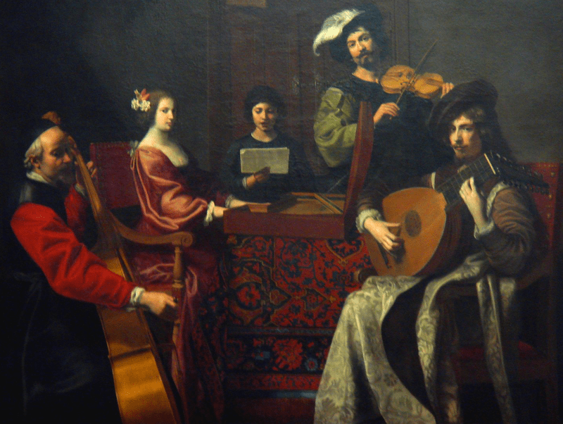 "Robert Tournières, ""Le Concert,"" France, 1690s. Instruments include a baroque cello, virginal, singer, violin, and a French baroque lute."