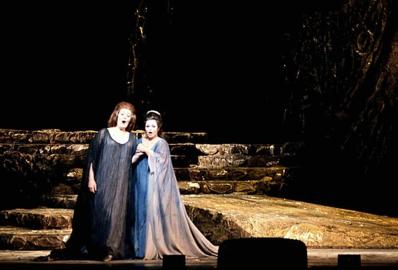 A scene from 'Norma' with Joan Sutherland as the title role and Marilyn Horne as Adalgisa.