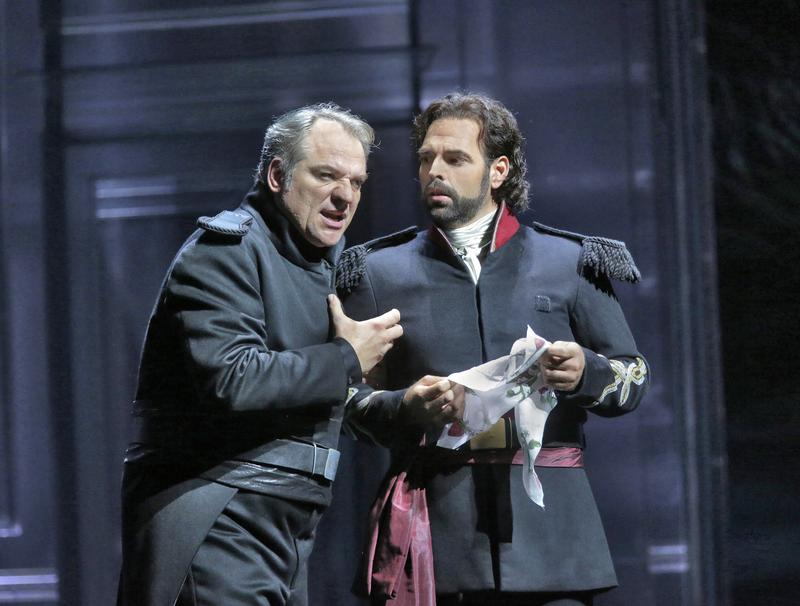 Željko Lučić as Iago and Dimitri Pittas as Cassio conspire together in the Met's production of Verdi's 'Otello.'