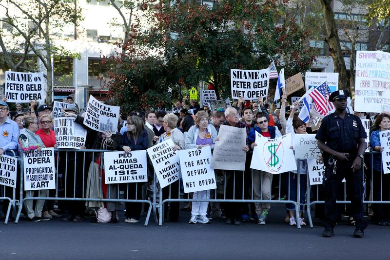 """Protesters gathered outside of the MET before the opening of the 2014-2015 season, saying John Adams's opera, """"The Death of Klinghoffer,""""is anti-Semitic and shouldn't be performed this year."""