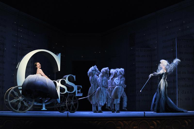 Joyce DiDonato sits atop a magical carriage as Cendrillon; Annick Massis plays the fairy.