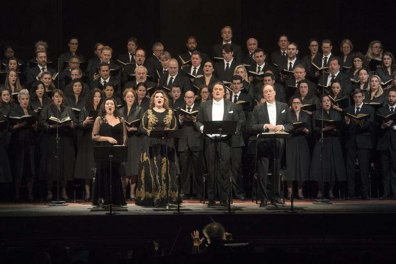 "Soprano Krassimira Stoyanova, mezzo-soprano Ekaterina Semenchuk, tenor Aleksandrs Antonenko and bass Ferruccio Furlanetto perform Verdi's ""Requiem."""