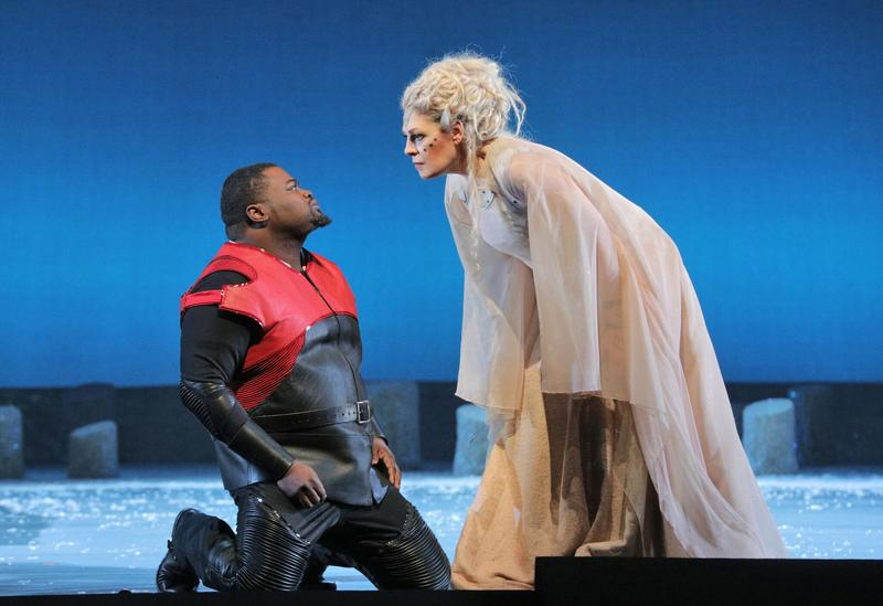 "Russell Thomas as Pollione and Sondra Radvanovsky as the title character in Bellini's ""Norma"""