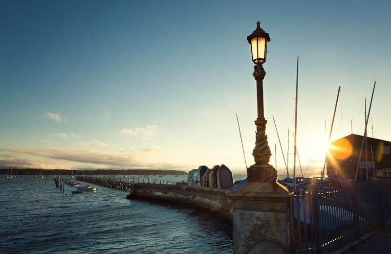 Sundown at Sandbanks in Poole, England.