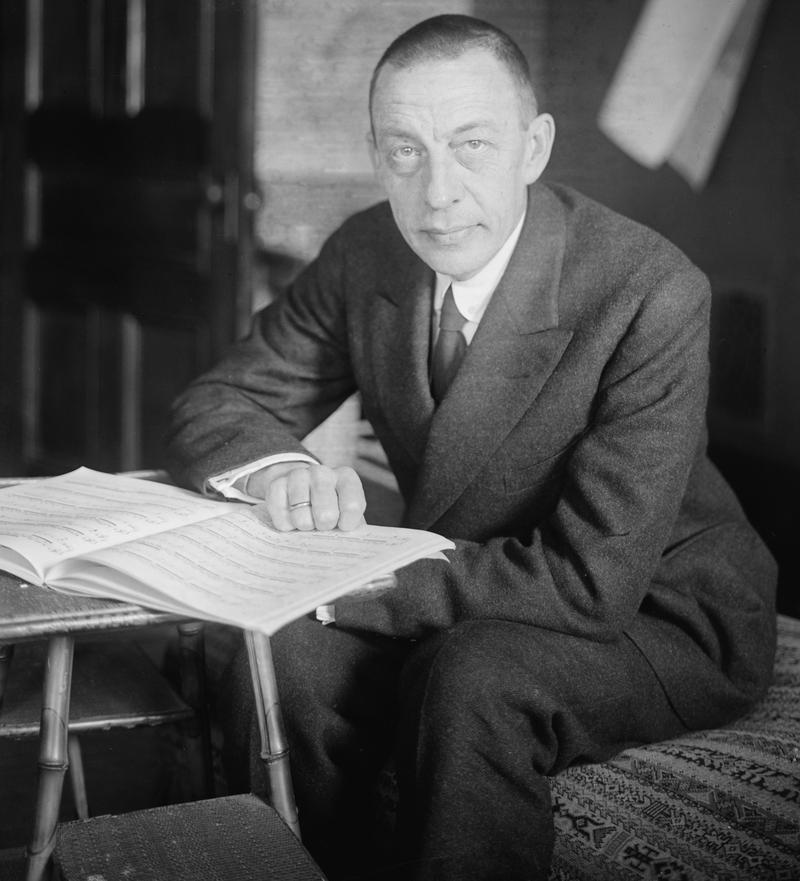 Sergei Rachmaninoff with a piano score.