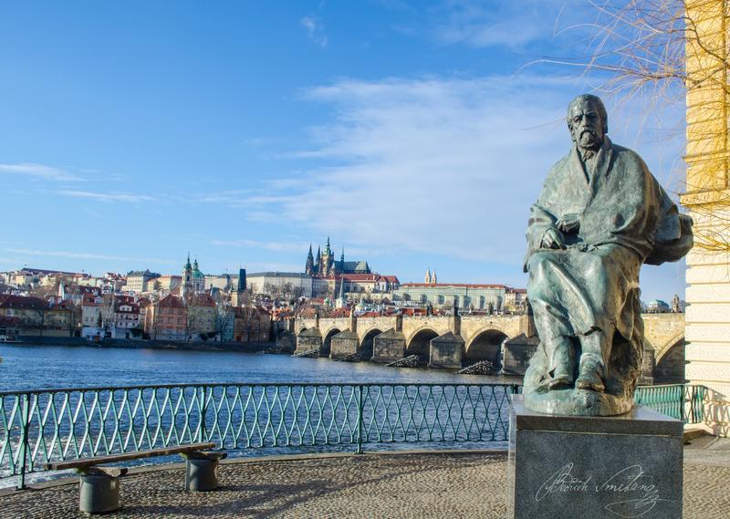 A statue of composer Bedřich Smetana in  in Prague.