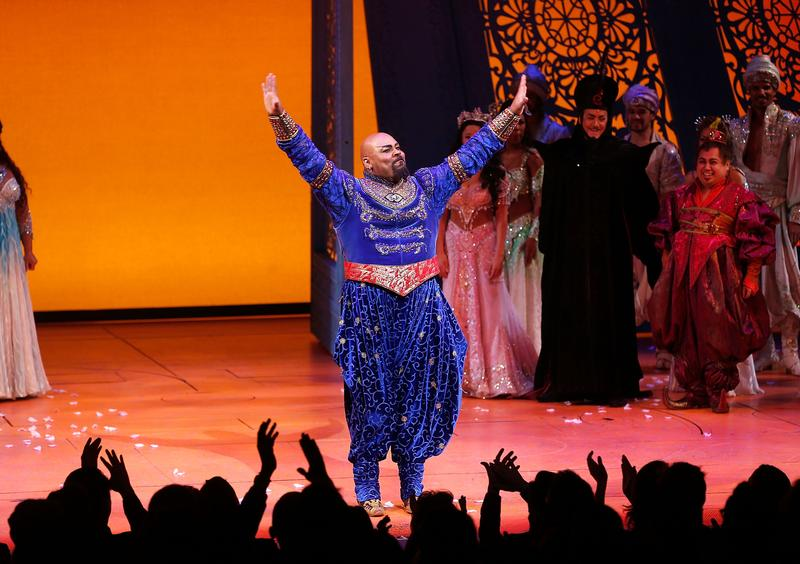 Actor James Monroe Iglehart takes a bow during the opening night curtain call of 'Aladdin' at the New Amsterdam Theatre.