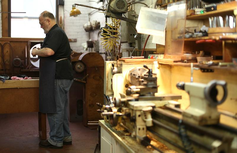Chuck McAlexander, co-founder of The Brasslab, in his Brooklyn shop