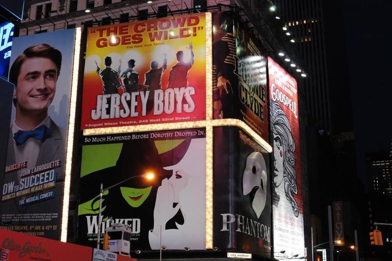 Broadway ads in Times Square.