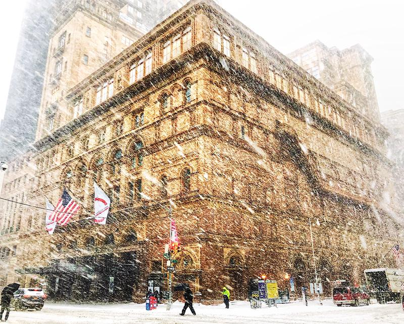 Carnegie Hall in the snow.
