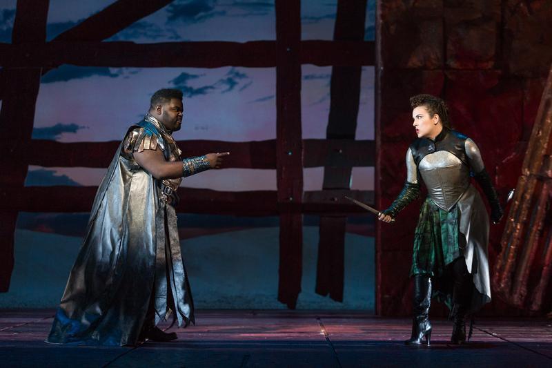 "John Holiday as Caesar and Sarah Mesko as Emilia in The Glimmerglass Festival's 2015 production of Vivaldi's ""Cato in Utica."""