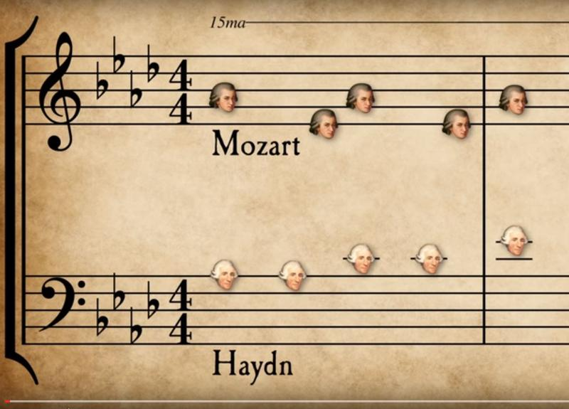 Grant Woolard's animated 'Classical Music Mashup' uses composers portraits to illustrate musical notes.