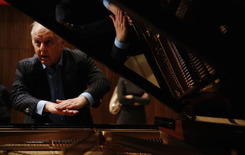 Daniel Barenboim reveals his new piano, the Barenboim-Maene concert grand, in London on May 26, 2015