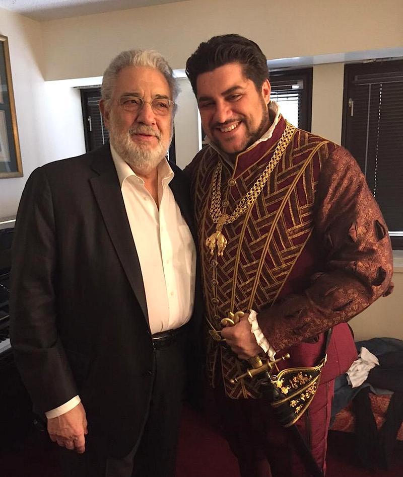 Luca Salsi (R), who replaced Placido Domingo (L) in the Met Opera's 'Ernani' Saturday.