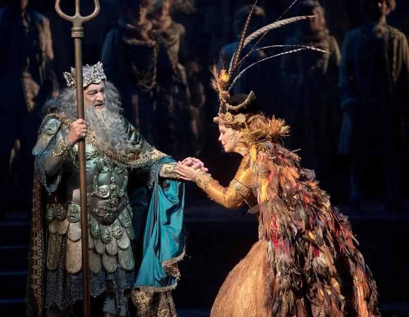 "Plácido Domingo as Neptune, King of the Seas, and Susan Graham as Sycorax in the Baroque pastiche ""The Enchanted Island."""