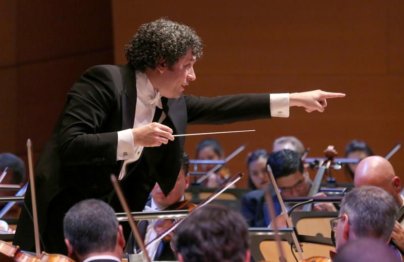 Gustavo Dudamel performs during the Los Angeles Philharmonic's Opening Night Gala at Walt Disney Concert Hall on September 29, 2015