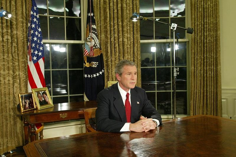 george bush oval office. U.S. President George W. Bush Addresses The Nation March 19, 2003 In Oval Office
