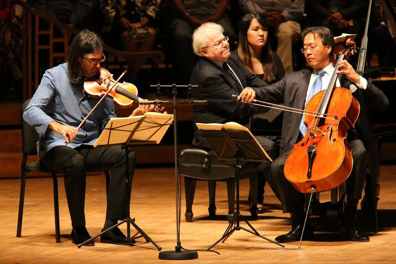 Emanuel Ax, Leonidas Kavakos and Yo-Yo Ma perform in Ozawa Hall.
