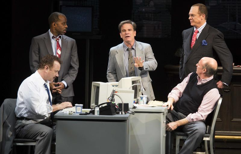 Tom Hanks (left to right), Courtney B. Vance, Peter Scolari, Christopher McDonald and Michael Gaston in 'Lucky Guy' at the Broadhurst Theatre.