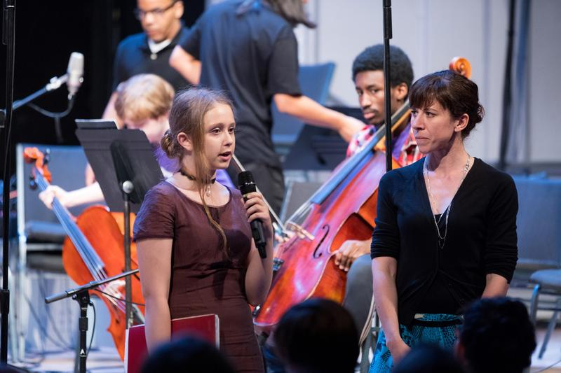 Luna Composition Lab mentee Sofia Belimova and co-founder and mentor Missy Mazzoli