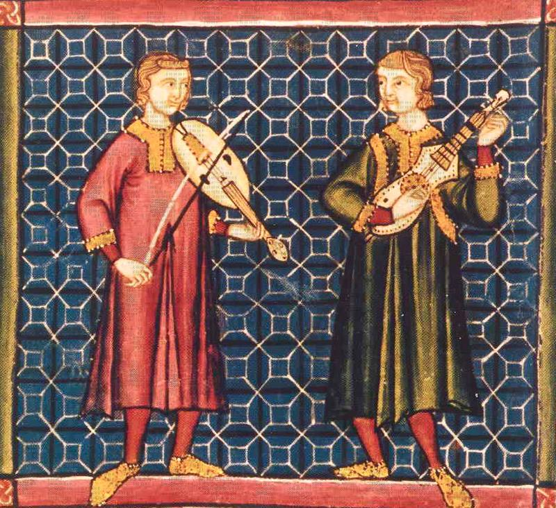 Medieval musicians playing instruments from the Cantigas de Santa Maria manuscript (13th century).