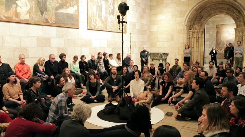 More than 100 people gathered to sing Pauline Oliveros' 'Tuning Meditation' at the Met Cloisters for a taping of Meet the Composer.