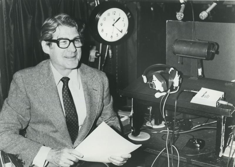 Peter Allen inside the Met Opera radio booth
