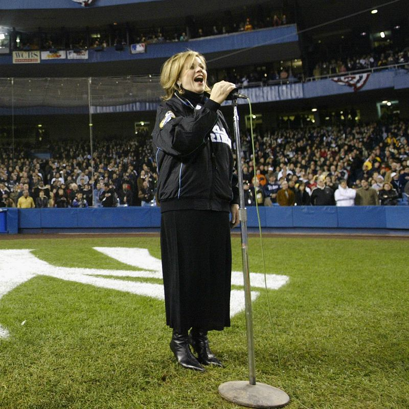 Renee Fleming sings the national anthem prior to game two of the World Series on October 19, 2003