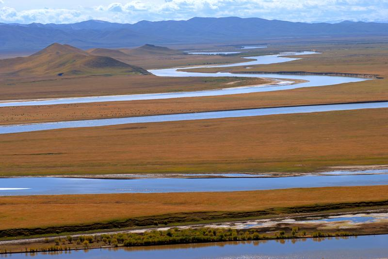 The Yellow River winding through grassland