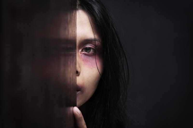 One in 4 women will experience domestic violence during her lifetime. This is a stock photo representing domestic violence.