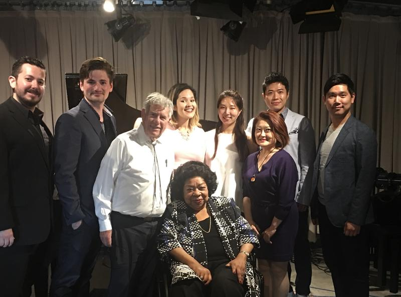 Robert Sherman, Martina Arroyo, and singers from the Prelude to Performance productions of Falstaff and Don Pasquale