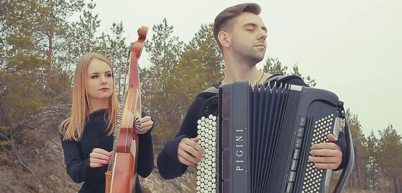 A screen capture from the music video of Vivaldi's Four Seasons by Ukrainian musicians Bayan and Bandura.