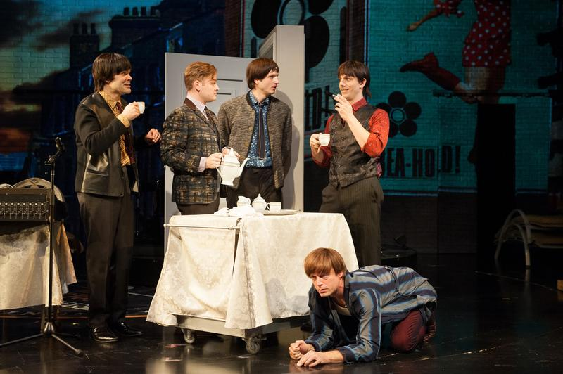 James Barry, Christopher Geary, Bryan Fenkart, Lucas Papaelias and Justing Kirk in 'These Paper Bullets!' at the Atlantic Theater Company.