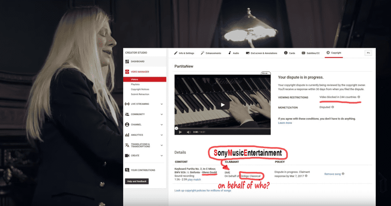 Thanks to a Youtube Malfunction, Valentina Lisitsa has found her performance of Bach's Partita No. 2 partially silenced.