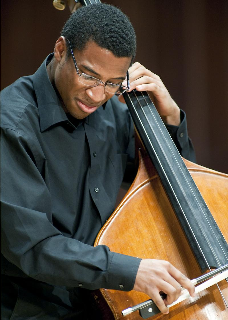 Composer Xavier Foley also plays the double bass.