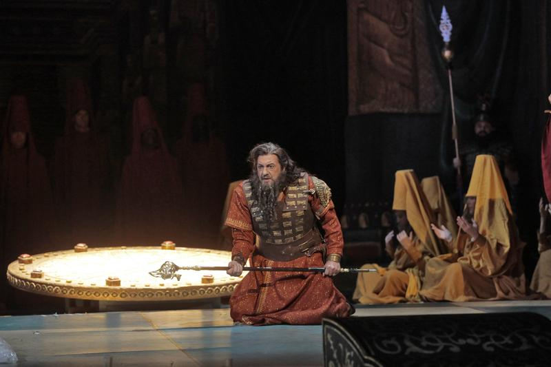 Placido Domingo in the title role in the Los Angeles Opera's production of Verdi's 'Nabucco'