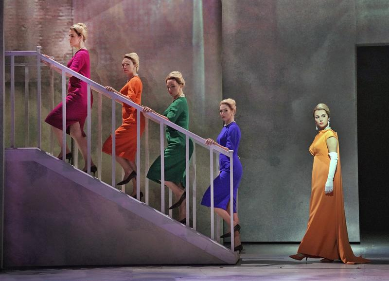 """Isabel Leonard (far right) in the title role of Nico Muhly's """"Marnie"""" with (l. to r.) Rebecca Ringle Kamarei, Deanna Breiwick, Peabody Southwell, and Dísella Lárusdóttir as the Shadow Marnies."""