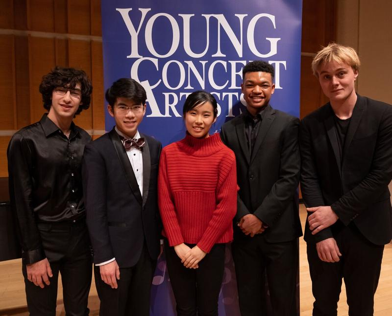 The 2018 Young Concert Artists Winners (left to right): Maxim Lando; Aristo Sham; Risa Hokamura; Randall Goosby; Jonathan Swensen