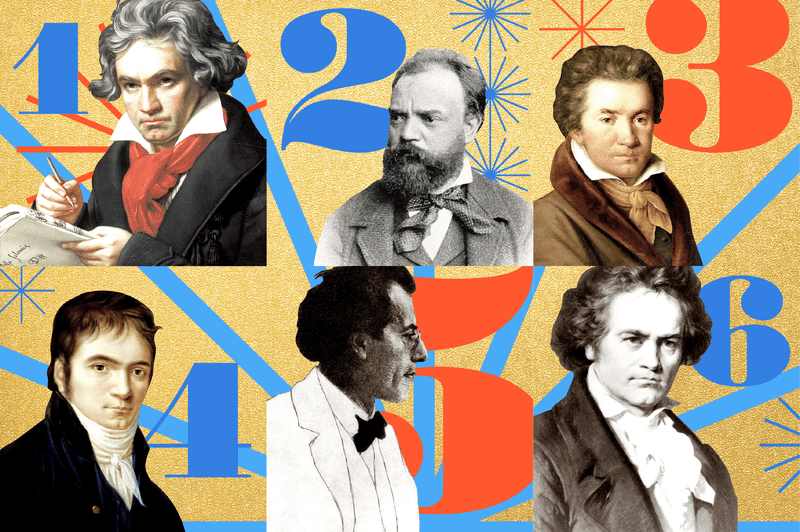 The composers of the top six pieces from WQXR's 2018 Classical Countdown - Beethoven, Dvorak, and Mahler