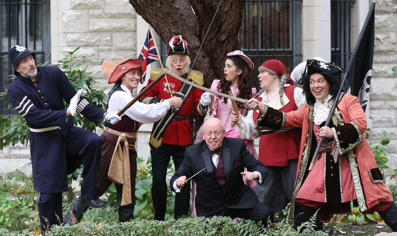 The New York Gilbert and Sullivan Players. From left to right: David Auxier, David Macaluso, James Mills, Albert Bergeret, Sarah Caldwell Smith, Angela Christine Smith, Matthew Wages