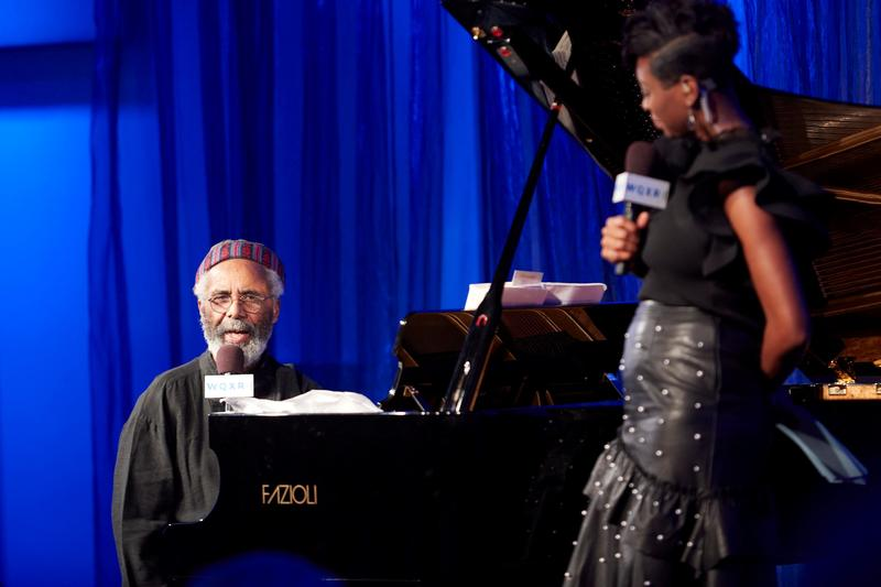 Pianist Roy Eaton and host Jade Simmons onstage in the Greene Space