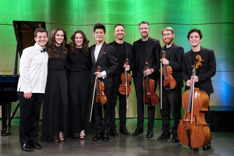 Henry Kramer, Christina & Michelle Naughton, Angelo Xiang Yu, JACK Quartet (l to r)
